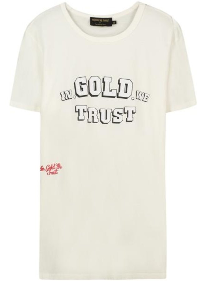 In Gold We Trust - Front Logo White Black Outline Tee