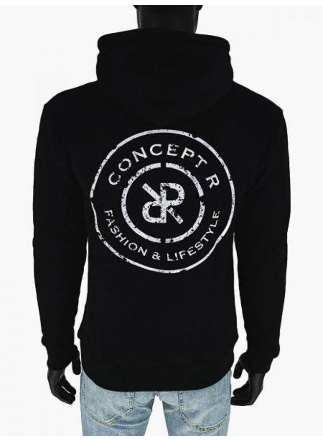 Concept R - Logo Damaged Hoodie Black