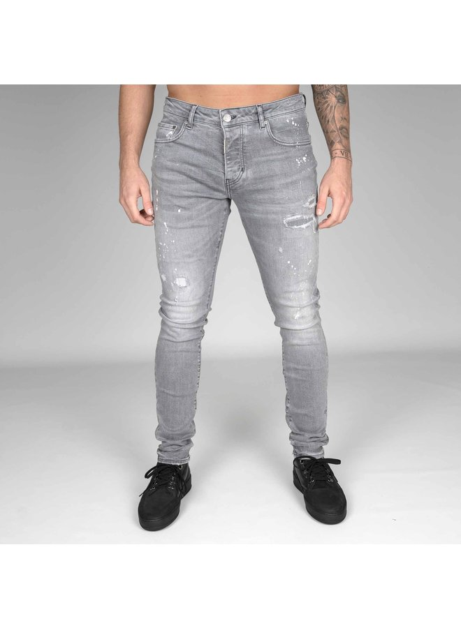 AB Lifestyle - Stretch Jeans Splash - Licht Grijs