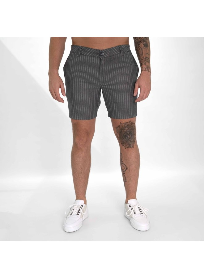 AB Lifestyle | Matching Pinstriped Chino Short Grey White
