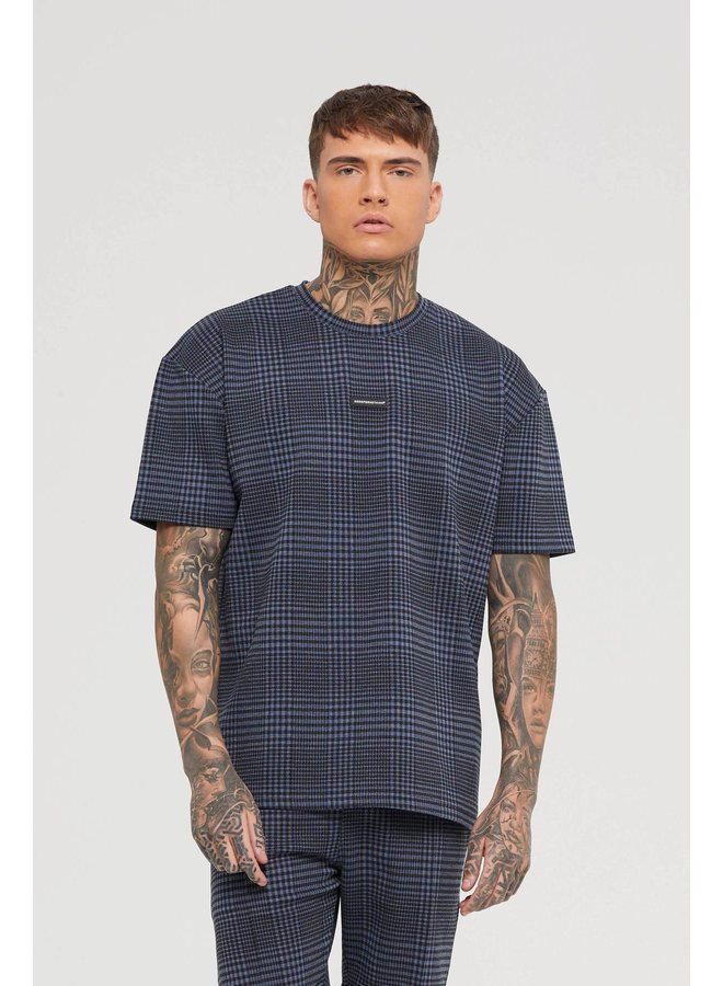 Good For Nothing - Oversized Tartan Navy T-shirt