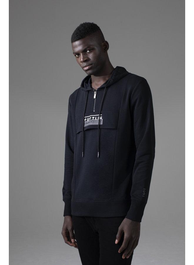 Sustain - Regular Anorak Hoodie Black