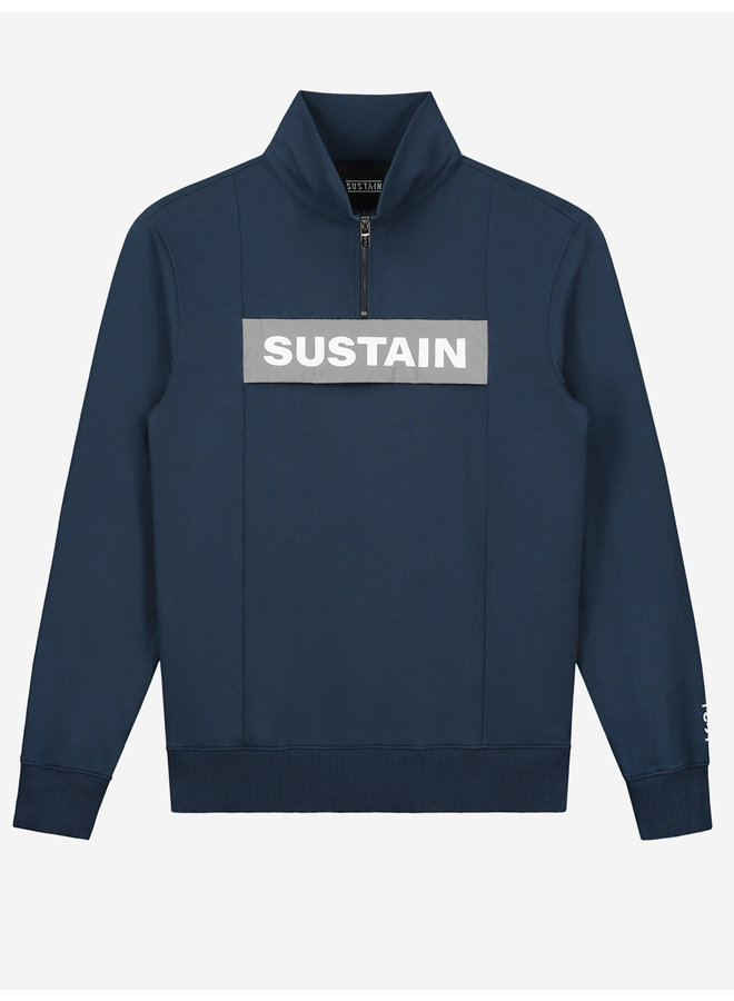 Sustain - Reflective Loose Fit Anorak Sweater Dress Blue