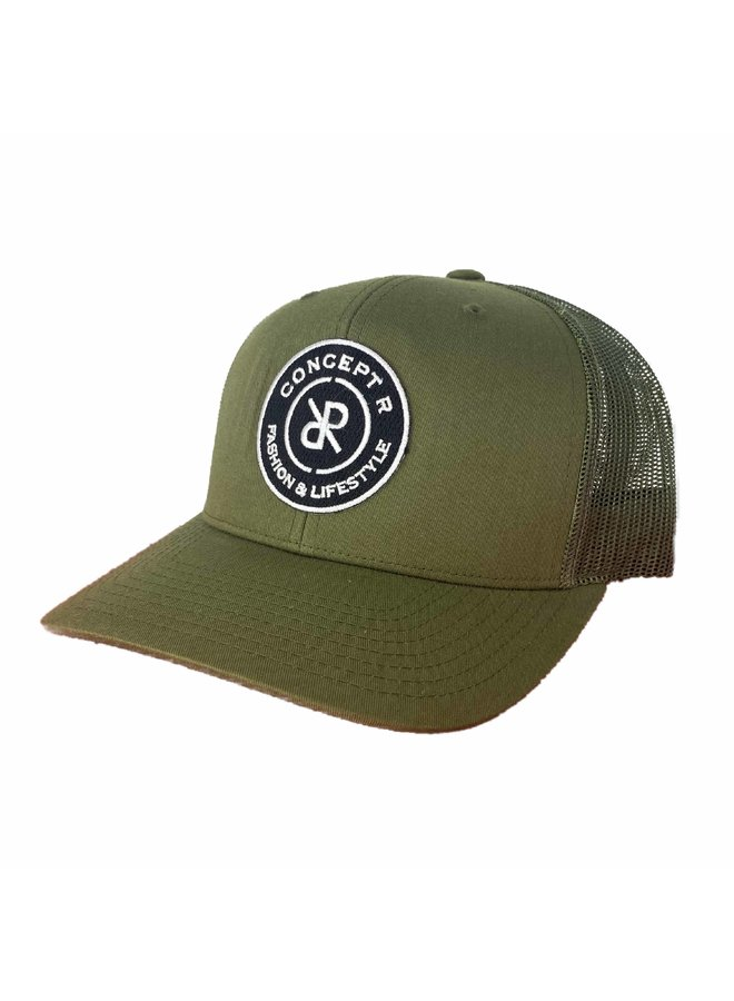 Concept R - Retro Trucker Cap  Army Green White