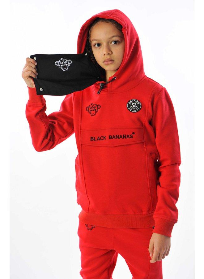Black Bananas Kids - Mask Hoodie Red