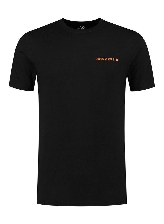 Concept R - Logo Damaged Shirt Black Orange