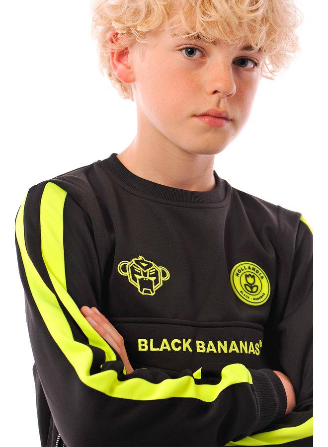 Black Bananas Kids - JR Neon Crew Tracksuit Black Neon Green