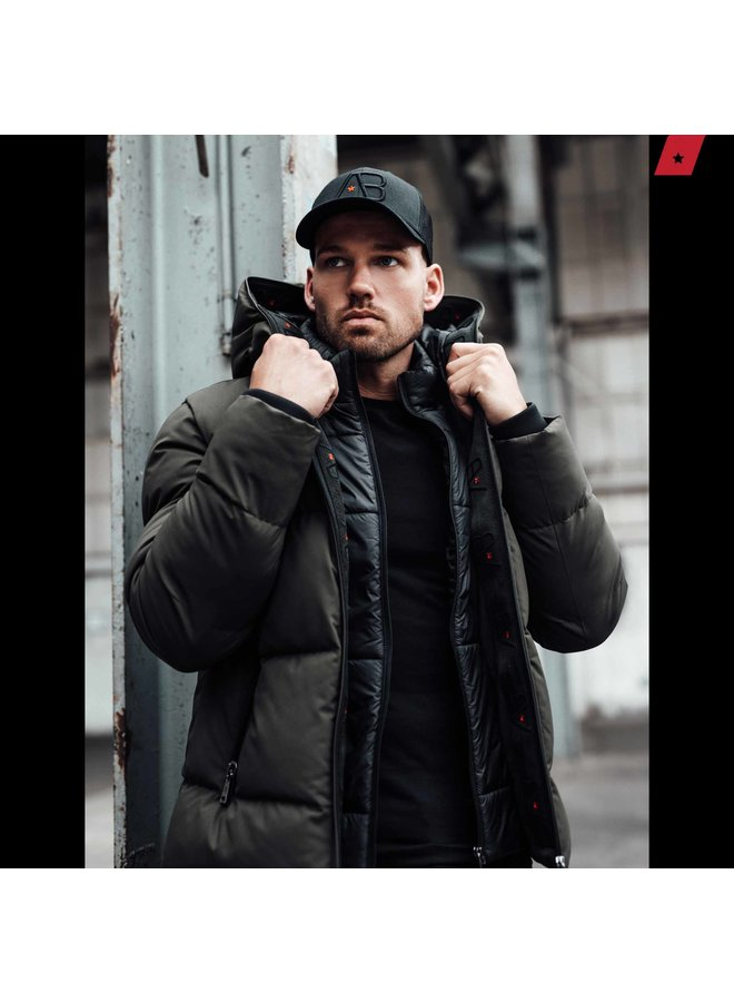 AB Lifestyle - Hooded Down Jacket Army Groen
