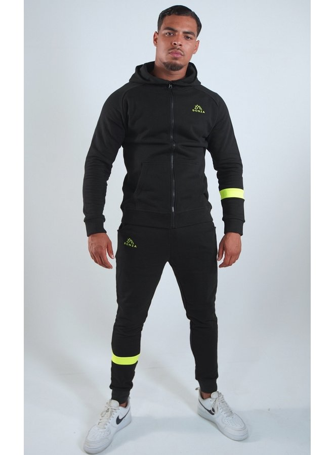 Donza - Jogging Suit Black / Neon Yellow
