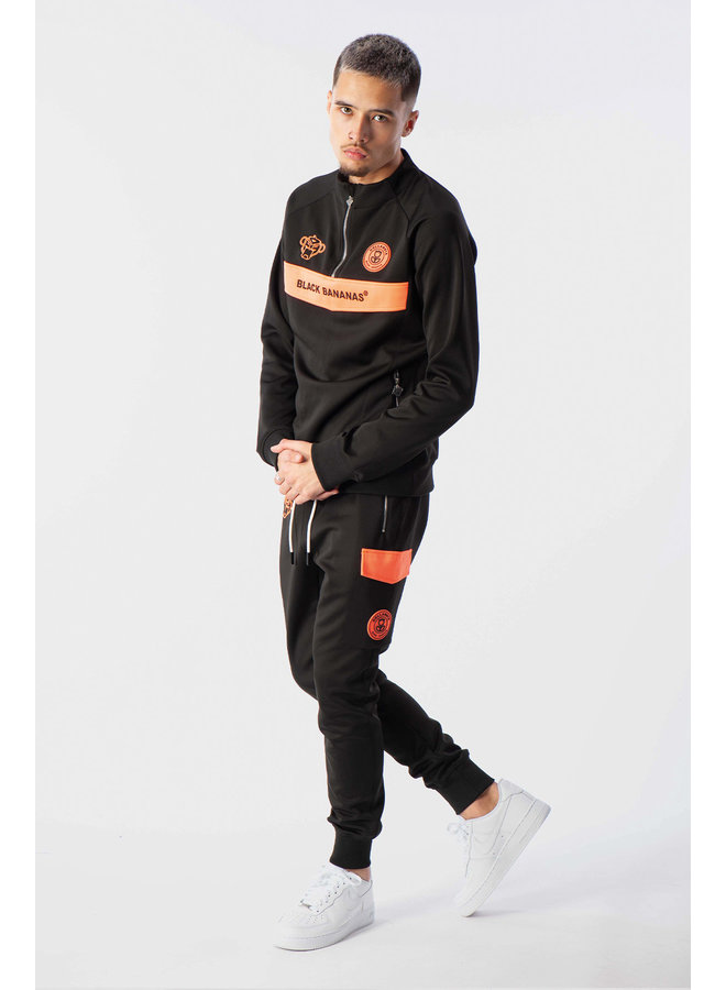 Black Bananas - Anorak Neon Tracksuit Black Orange
