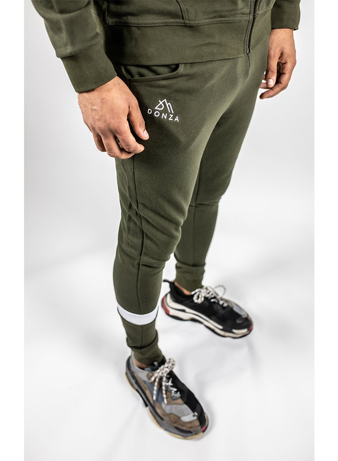 Donza - Jogging Suit Army Green White