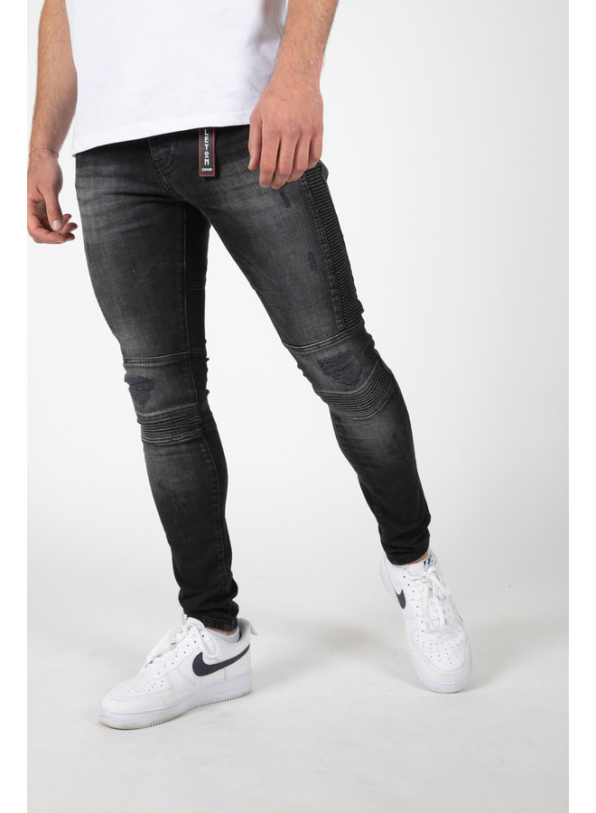Leyon -  Ribbed Black Jeans 2044-1