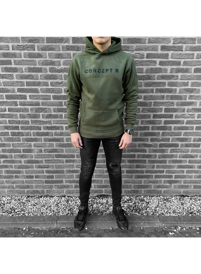 Concept R - Damaged Letter Hoodie Army Green