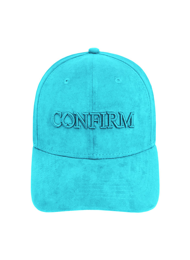Confirm -Brand Suede Look Cap Aqua
