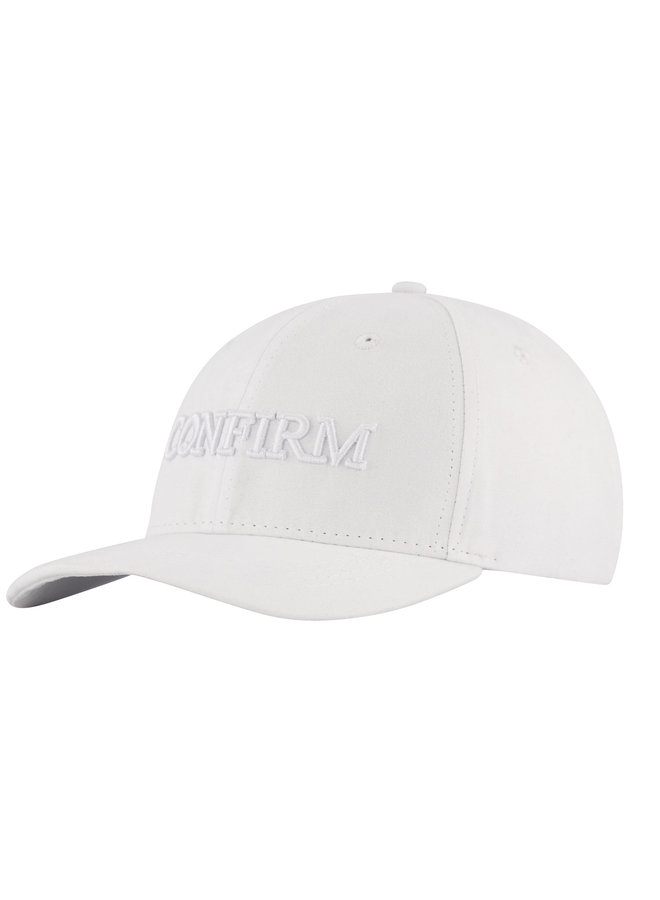 Confirm -Brand Suede Look Cap White