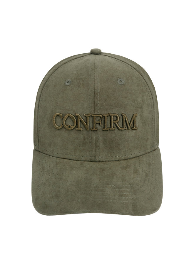 Confirm -Brand Suede Look Cap Army Green