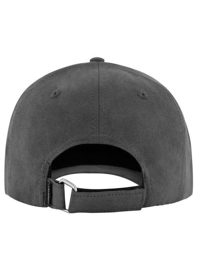 Confirm - Brand Suede Look Cap Dark Grey