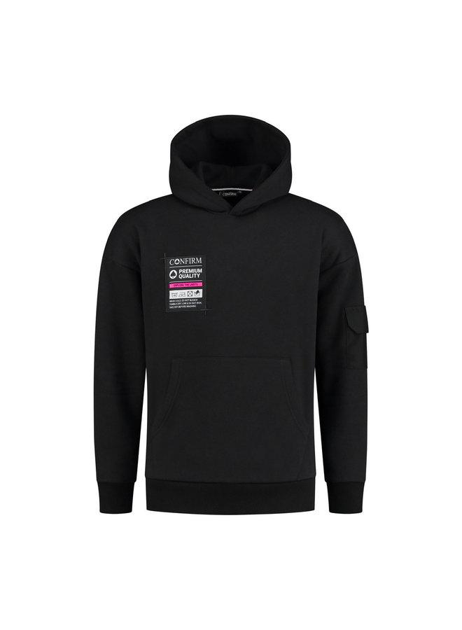 Confirm - Hoodie Pocketlabel Black/Pink