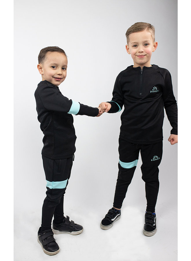 Donza Kids - Polyester Suit Black Baby Blue