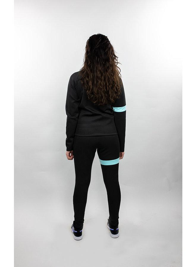Donza - Polyester Suit Black Aqua Blue