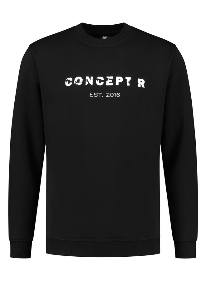 Concept R - Damaged Letters Sweater Black