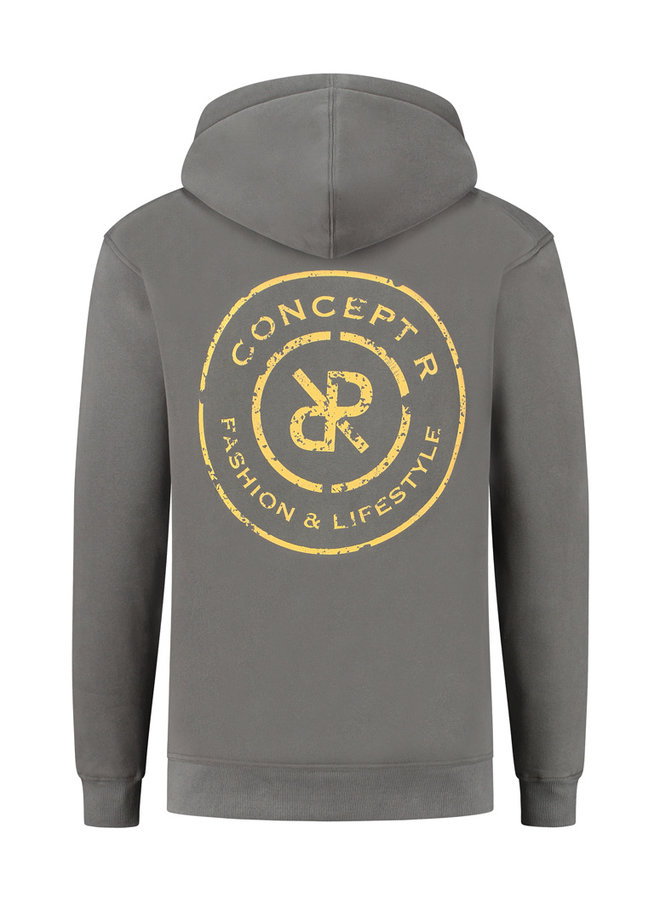 Concept R - Damaged Logo Hoodie Ash Grey