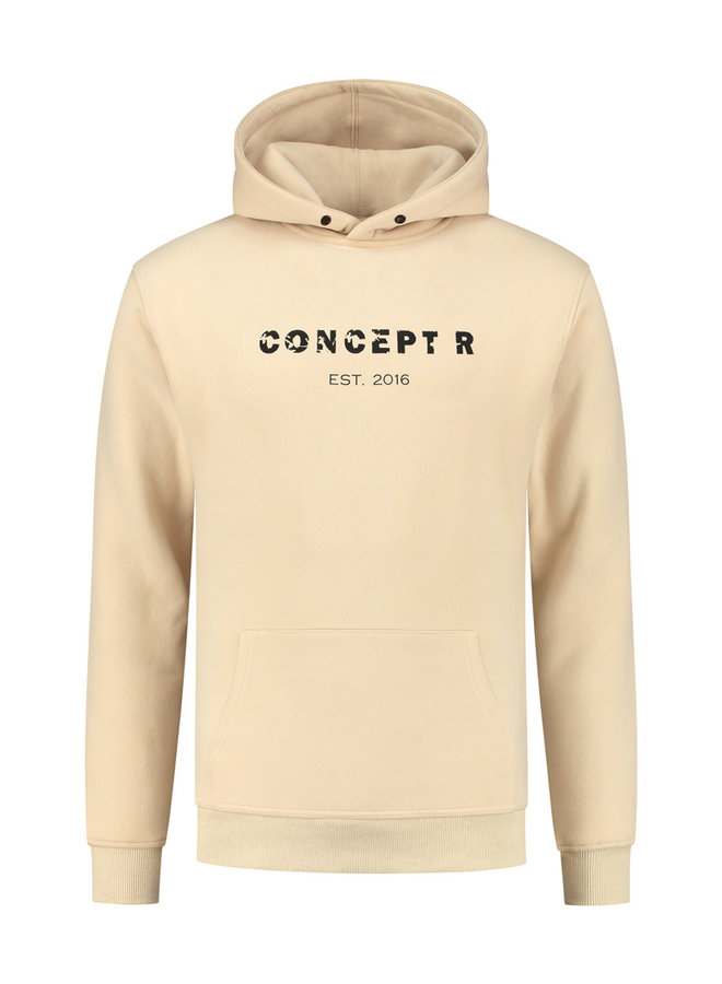 Concept R - Damaged Letter Hoodie Army Green Sand