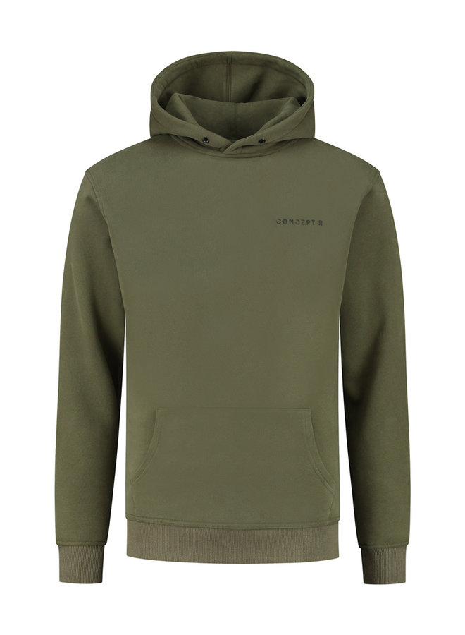 Concept R - Damaged Logo Hoodie Army Green