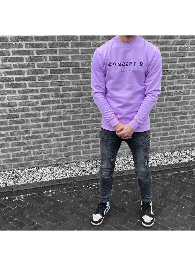 Concept R - Damaged Letters Sweater Purple