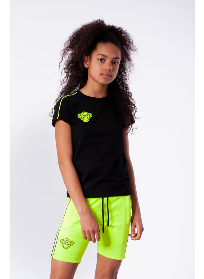 Black Bananas - Jr. Girls Piping Tee Black Neon Yellow
