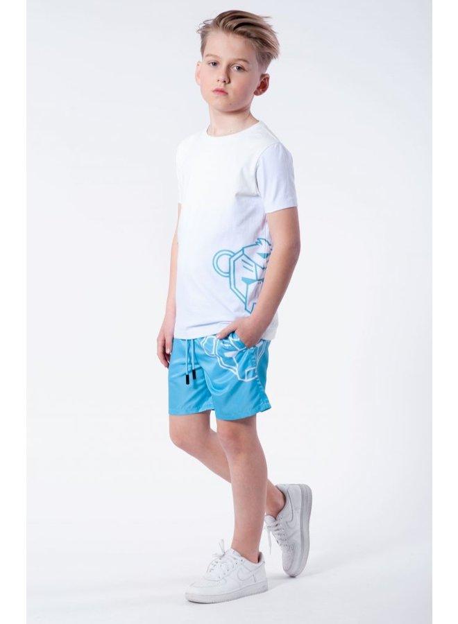 BLACK BANANAS KIDS - JR. SIDE TEE WHITE/BLUE