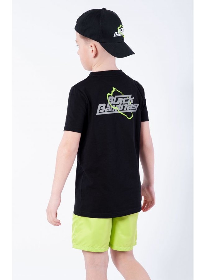 BLACK BANANAS KIDS - JR. REFLECTIVE UNIVERSE TEE BLACK/NEON YELLOW