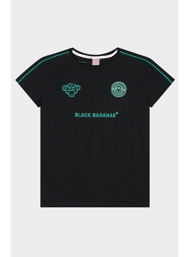 BLACK BANANAS WOMEN - NEON PIPING TEE BLACK/AQUA