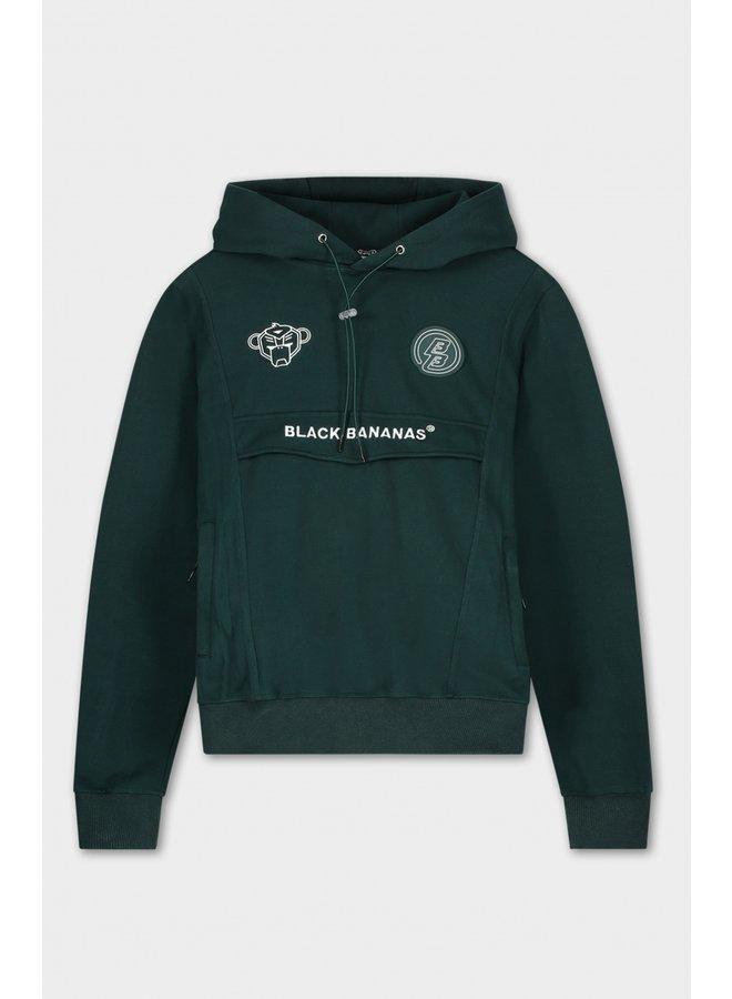BLACK BANANAS - WMN ANORAK ARCADE HOODY DARK GREEN/WHITE
