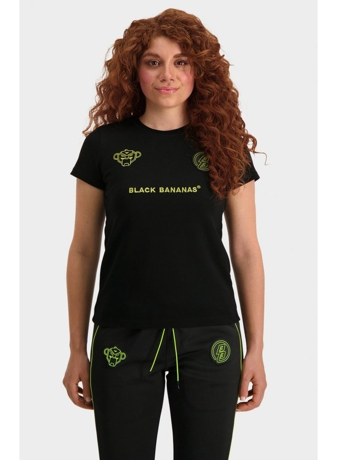 BLACK BANANAS - WMN MONKEY TRON TEE BLACK/LIME