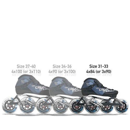 Cádomotus Rookie One Kids Inline Skate 4x84 | 3x90 race setup