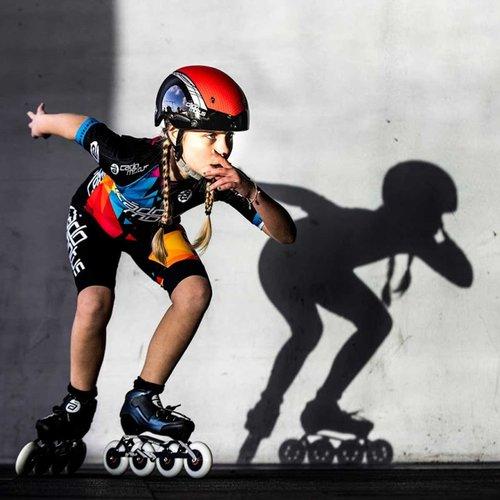Cádomotus Rookie One Kids Inline Skate 4x100 | 3x110 race setup