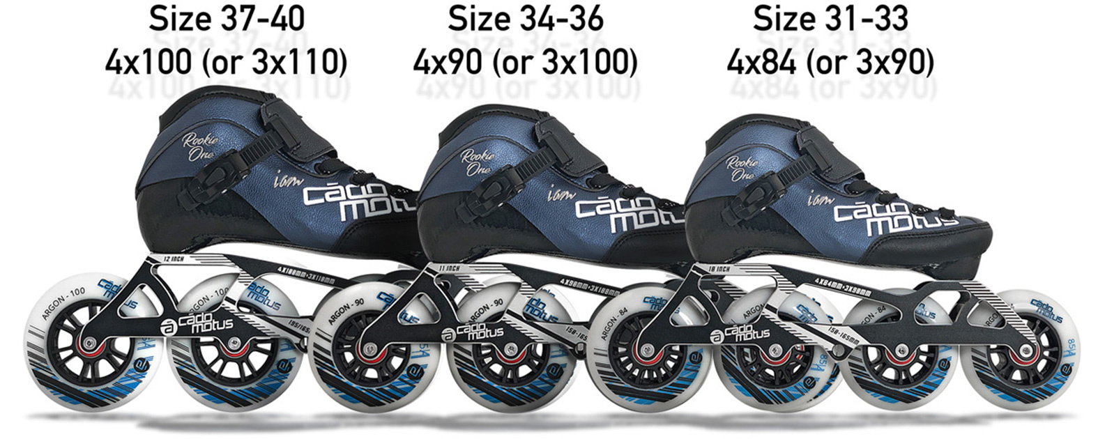 This inline speed skate frame is designed to take 4 wheels or 3 bigger wheels in one frame.