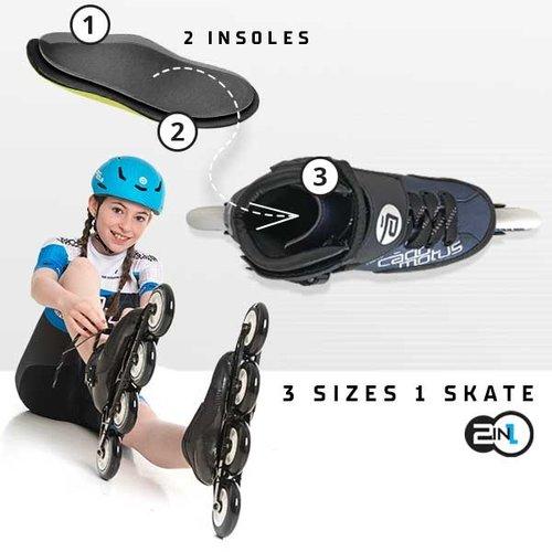 Cádomotus Mit diesen Einlegesohlen kaufen Sie Ihre Inline-Skates zwei Größen größer für Wachstum!