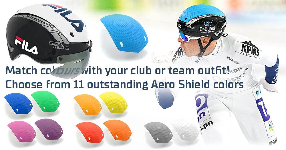 Schaatshelm met verschillende kleuren shields