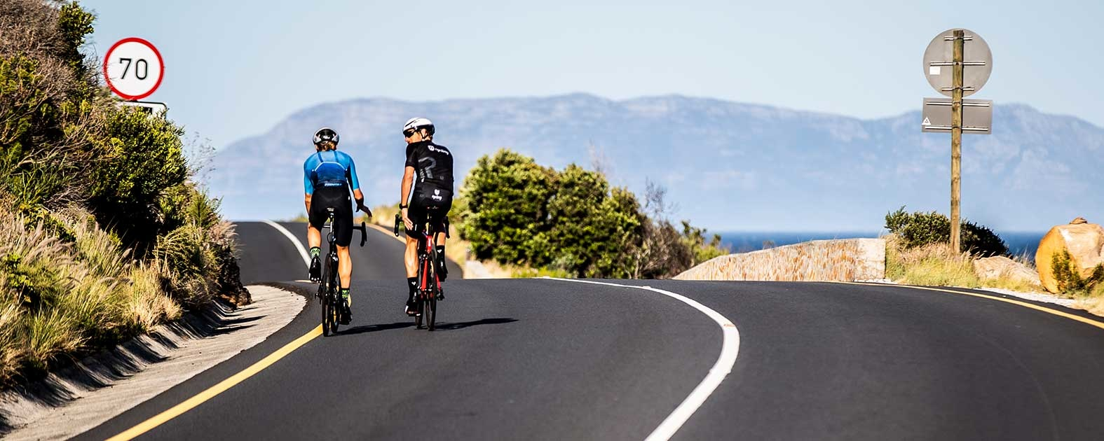 Pro Triathletes Andrea Salvisberg and Jamie Riddle training in South Africa