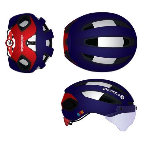 Cádomotus Sigma-II Aerodynamic Cycling helmet with  integrated visor | custom