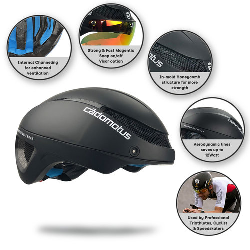 Cádomotus Omega Aero helmet for speedskating and cycling - Black - Matt
