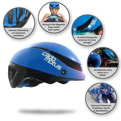 Cádomotus Omega Aerodynamischer Radhelm für Triathlon & Eisschnelllauf  - Blau