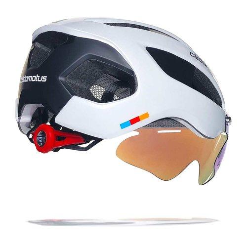 Cádomotus Sigma-II Aerodynamic Cycling helmet with integrated visor | white