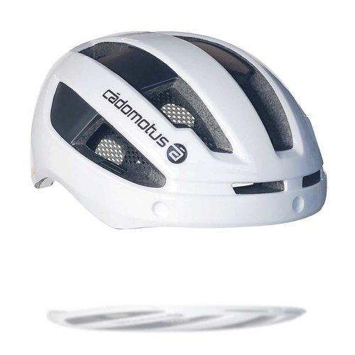 Cádomotus Sigma-II Aerodynamischer Fahrradhelm mit integriertem Visier | weiß