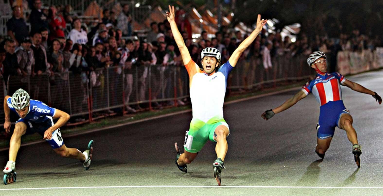 Michel Mulder wereldkampioen skeeleren