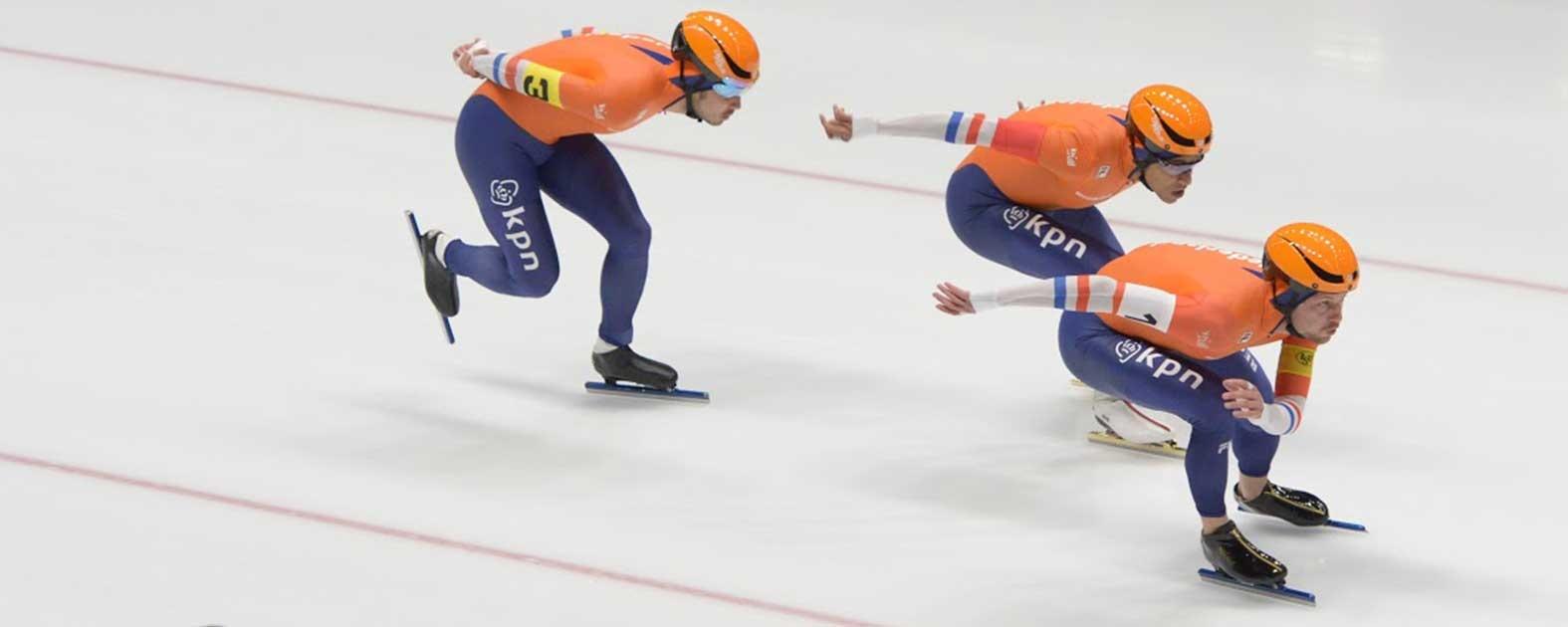 Michel Mulder tijdens de team sprint in de WorldCup
