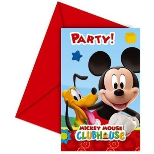 Mickey Mouse 6 Mickey Mouse Uitnodigingen Kinderfeestje - Disney