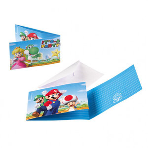 Super Mario Bros Super Mario Bros Uitnodigingen Kinderfeestje - 8 stuks